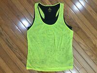 prAna Women's Green Polka Dot Athletic Tank Sleeveless Top Blouse 2-layer Size L