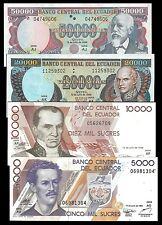 Ecuador 50000,20000,10000,5000 SUCRES 1999 lot 4 PCS UNC