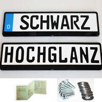 2 Stück Kennzeichenhalter Kennzeichenhalterung Schwarz Hochglanz  NEU OVP