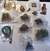 Vintage McDonald's Christmas Pins - set of 12