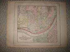 Antique 1887 Cincinnati Ohio Covington Newport Kentucky Mitchell Handcolored Map