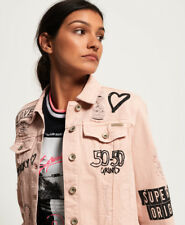 New Womens Superdry Girlfriend Jacket Dusty Pink