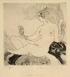 """Norman Lindsay Facsimile Etching """"Which Mask"""" Ltd/Ed Hand Numbered 269 & Framed"""