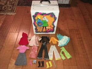 Vintage 1968 Mattel The World Of Barbie Doll Trunk & Period Mod Clothes Lot