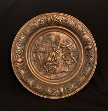 Antique Copper Repousse Charger Nude Greek Myth, Pan Forest God & Whorshipers