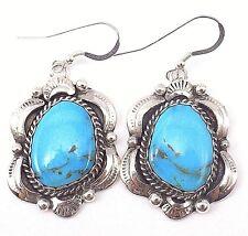 Navajo Handmade Kingman Turquoise Earrings Sterling Silver - Gilbert Tom