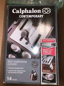 Calphalon Self-Sharpening 14pc Cutlery Knife Block Set w/SharpIN, NIB FAST SHIP
