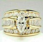 Deal! 4.83ct Marquise Diamond Engagement Wedding Band Ring 14K Solid Yellow Gold