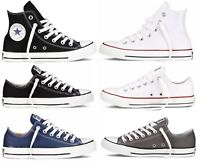 Mens Unisex HI Top Low Top Converse Shoes Laceup in Black White Colours All Size