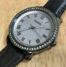 Fossil  ES3188 Titan-Black Steel Leather Roman Analog Quartz Watch Hour~New Batt