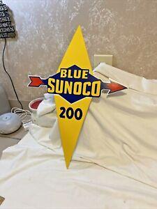 VINTAGE BLUE SUNOCO 200 GASOLINE METAL ENAMEL SIGN