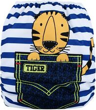 Reusable Modern Cloth Nappy + Microfibre insert Reusable –Tiger In My Pocket