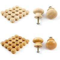20-60x 32mm Round Wooden Cabinet Knob Cupboard Drawer Wardrobe Door Pull Handle