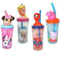 Disney Princess & Kids TV Character School Tumbler Drinks Water 3D Straw Bottle