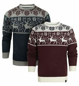 Mens Christmas Jumper Burgundy Reindeer Xmas Stag Size S M L XL XXL Navy Novelty