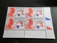 FRANCE BLOC timbres 2461 LIBERTE' DELACROIX, oblitéré 1988 cachet rond, QUARTINA