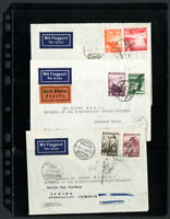 Austria Stamps 3x Flight Covers All Backstamped