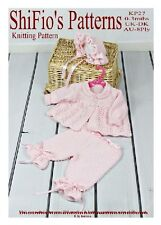 KNITTING PATTERN for BABY MATINEE JACKET TROUSERS & HAT #27 By ShiFio Patterns