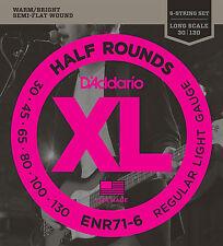D'Addario ENR71-6 Half Round Bass Guitar Strings, 6-String Set, Regular Light, 3