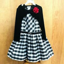 Jona Michelle Party Holiday Dress Girls Size 6 Plaid Fancy Black White Metallic