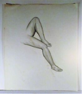 LOUISE LEMP PABST, WI ARTIST, PABST BREWERY FAMILY, SKETCH/STUDY OF WOMAN'S LEGS