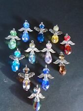 12 Handmade Glass Crystal Teardrop Angels Guardians Charms Wings Bead Caps
