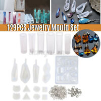 129Pcs Resin Casting Molds Kit Silicone Mold Jewelry Pendant Mould Craft DIY