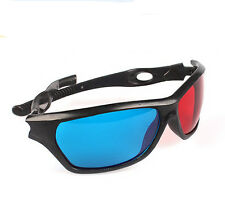 Plastic Cyan Black Frame 3D Stereoscopic Glasses 3D Dimensional Vision Blue-Red