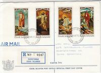 Cook Islands 1970 Registered Airmail Easter Christ Pics Stamps Cover FDC Rf29027