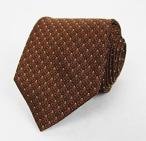 New Gucci Brown Silk Neck Tie with White Dot Print 351833 2265