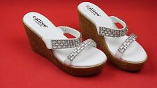 "Callisto of California ""Chainey"" White Patent Embellished Wedge Sandal Size 7 M"