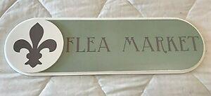 Flea Market Wall Plaque Fleur de Lis French Farmhouse Cottage Chic Sage Green