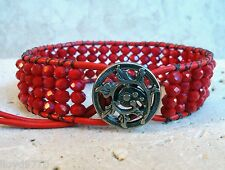 Red Crystal Rondelle Handmade Leather Cuff Wrap Bracelet