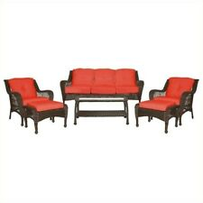 Jeco 6pc Wicker Seating Set in Espresso with Red Cushions