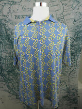 Golf Authority Mens Polo SS Golf Shirt - Blue Geometric Poly/Cot Size Lg - I768a