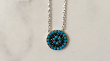 Sterling Silver CZ Crystal Evil Eye Turquoise Mati Nazar Necklace Cubic Zirconia