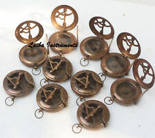 BRASS SUNDIAL STYLE POCKET PUSH BUTTON NAUTICAL COMPASS MARITIME WORKING COMPASS