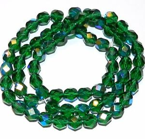 CZ3125 Emerald Green AB 6mm Fire-Polished Faceted Round Czech Glass Bead 16""