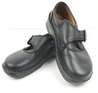Birkenstock Size 40 L9 M7 Black Leather Buckle Loafers Clogs EUC