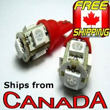 2x T10 194 RED LED Bulbs, 5 HighPower 5050 Chips