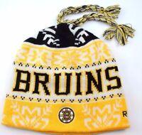 Boston Bruins Reebok NHL Tassel Winter Knit Hockey Hat/Beanie/Toque