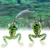 2pcs 12g Freshwater Soft Ray Frog Topwater Fishing Lure Hooks Bass Bait Tackle