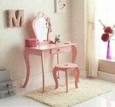 Amelia Vanity Children Kids Wooden Set Dressing Table With Mirror & Stool Pink