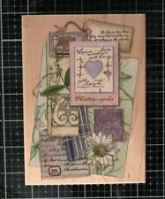 New Rubber Stamps Happen Vintage Heart & Daisy Collage postal Free Usa ship