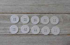 buttons white plastic Sewing 4 Holes 3/4 inch 10Pcs