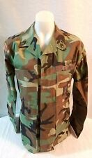MILITARY ISSUE U.S . BDU  SHIRT WOODLAND CAMO MEDIUM-Reg hunting patches #21