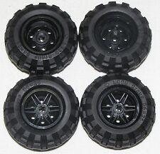 LEGO LOT OF 4 NEW 56 X 26 BALLOON TIRES WITH BLACK 6 PINHOLE HUBS CAR TRUCKS