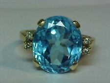 10.46ct Svizzero Blu Ovale Topazio & 4 Anello Diamante 10K Yel Oro Super