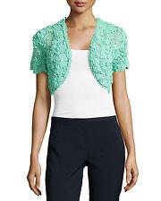 NWT Oscar de la Renta Cropped Silk Crochet Bolero, Aquamarine, Women's size XS