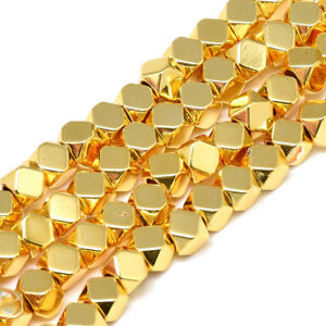 """15.7"""" Strd Gold Plated Hematite Stone Beads Faceted Polygon Loose Beads Tiny 4mm"""